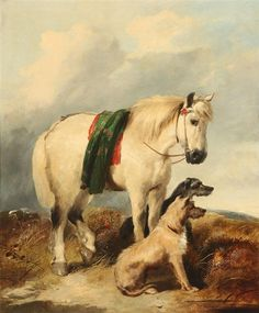 William Walker Morris - Portrait of a Highland Pony and Two Scottish deerhounds