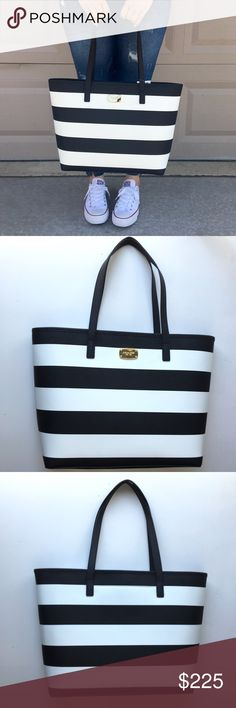 """MICHAEL KORS 'Jet Set Travel' Tote Brand new black & white striped Michael Kors Jet Set Travel Stripe in Saffiano leather. Has 10"""" rolled double handles, gold tone hardware, and magnetic snap closure. Interior has 1 zipper pocket, 3 slip pockets, and 1 cell phone pocket. MK logo on a black satiny lining. Approx. 12.5 """" H x 17"""" W x 6"""" D. Please carefully review each photo before purchase as they are the best descriptors of the item. My price is firm. No trades. First come, first served. Thank…"""