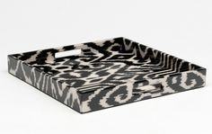 Madeline Weinrib Black Luce Ikat Lacquer Tray, exclusive for Barneys