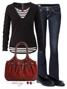 """""""Untitled #487"""" by sherri-leger ❤ liked on Polyvore featuring True Religion, Kelly & Katie, Gucci and A B Davis"""