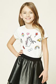 Forever 21 Girls - A knit tee featuring various patch graphics including a unicorn, pizza, and rainbow, round neckline, and short sleeves.