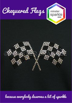 Motor racing fans will enjoy seeing these chequered flags that catch the light and sparkle as they cheer their favourite drivers on #preciosa #crystals #sparkle #minstersparkle #glitter #chequeredflags #flags #motorracing #f1 #formula1 #formulaone #grandprix #sparkly #bling