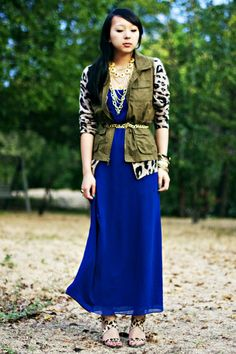 Cobalt maxi dress with a cardigan layer, then a utility vest layer then a belt. (I'll substitute a cropped tuxedo vest though)