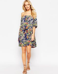 0a65783011d77 ASOS Maternity Swing Dress With Off Shoulder In Floral Print at asos.com