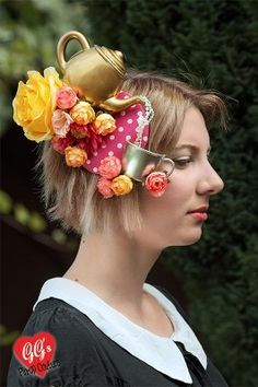 Tea Party Fascinator with Cup and Flowers - Surreal and Quirky Fascinators - GG's Pin-up Couture