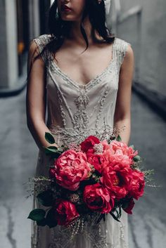 1920s inspired beaded wedding dress by Gwendolynne + pink peony bouquet