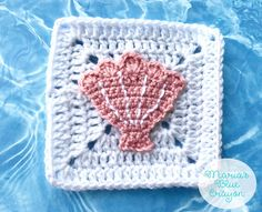 Crochet Seashell Applique and Granny Square Free Crochet Pattern - Ocean Themed Blanket - Maria's Blue Crayon The Seashell is the square of my Ocean Afghan . To find all the information about this Afghan Granny Square Crochet Pattern, Afghan Crochet Patterns, Crochet Squares, Crochet Motif, Crochet Stitches, Free Crochet, Granny Squares, Crochet Granny, Crochet Appliques
