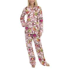 Nick & Nora® Poplin Its A Hoot Pajama Coat Set - Pink/Multi