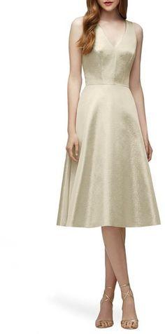 Lela Rose Bridesmaid V-Neck Metallic Fit & Flare Dress