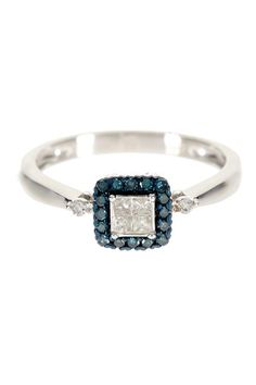 Sterling Silver Blue Diamond Accented Princess Cut White Diamond Ring - 0.25 ctw