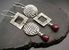 Red Hot Mama  Sterling Silver and Ruby Earrings by designsbysuzyn, $75.00