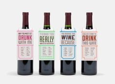Thea Kennedy   Drink this Wine Gift Tags by Knock Knock on Luvocracy