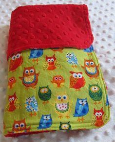 Woodland Friends II Owls and Red Minky Stroller by sewbrookstone, $33.00