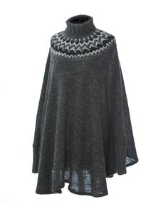 Icelandic Wool Poncho from Varma - feature a traditional Icelandic yoke pattern that is hand-knitted with care in Iceland.