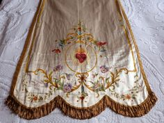 Antique French religious silk banner w hand painted sacred heart w flowers processional banner church fabric decor religious fabric w gold by MyFrenchAntiqueShop on Etsy Our Lady Of Sorrows, Altar Cloth, Sacred Heart, Picture Sizes, Religious Art, Fabric Decor, French Antiques, I Shop, Banner