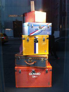 Goyard luggage in window of Bergdorf Goodman, NYC...