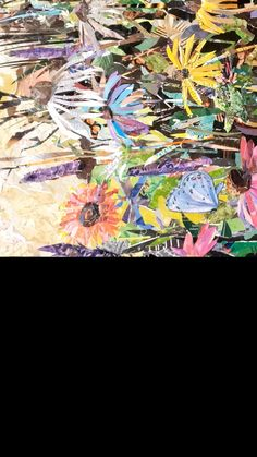 DETAILS from large formate collage piece (4 x 6 ft.) commissioned for medical facility in Oklahoma. All butterflies and wildflowers indigenous to the state. Guard Your Heart Quotes, Collage Landscape, Torn Paper, Large Wall Art, Wildflowers, Oklahoma, Art Lessons, Paper Art, Butterflies