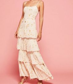 Printed bridesmaid dresses: Reformation Opium Foxglove Dress