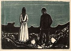 Edvard Munch - Two Human Beings, The Lonely Ones (Blue Print), 1899