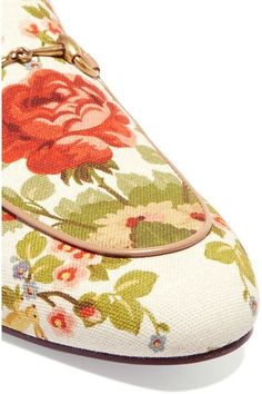 Gucci for NET-A-PORTER - Horsebit-detailed Floral-print Canvas Slippers - Off-white - IT41.5