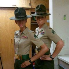Marine Corps Women Drill Instructors   Female Marine Drill Instructors at MCRD PI.