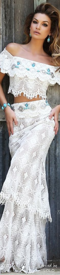 Sherri Hill   The House of Beccaria..   Bohemian style and chic fashion   sexy brunette in white print BoHo style maxi dress   perfect attire for a day event   pretty woman with sexy attitude   enhance her wardrobe with beauty of fashion designer color gemstones in sterling silver jewelry   #thejewelryhut