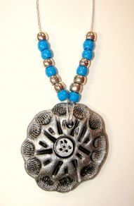 navajo silver and turquoise pendants with clay or salt dough ...painted when dry black acrylic and silver dabbed on top