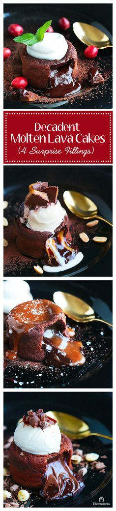 These Decadent Molten Lava Cakes flowing with 4 different fillings, give the restaurant version a run for its money! Choose between peanut butter cup filling, salted caramel, Nutella, leave it plain f (Chocolate Desserts For One) Fudge Recipes, Cupcake Recipes, Cupcake Cakes, Dessert Recipes, Cupcakes, Mini Cakes, Baking Recipes, Hot Chocolate Fudge, Chocolate Desserts