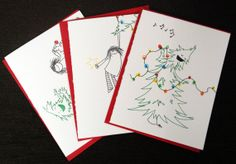These are the best holiday cards I've ever made in my life. In case you were wondering. Christmas Tree Holiday Card Three Design 3Pack by melindafarrar, $15.00