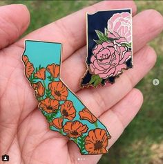 State flower pins through Lil Boat Boutique