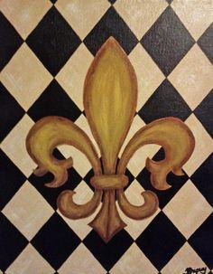 Classic Fleur de Lis on Canvas 11x14