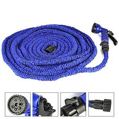 Yozoo Deluxe Latex Flexible Expandable Magic Garden Water Hose With 7 Functions Spray Nozzle and Shut-off Valve-Blue 100ft