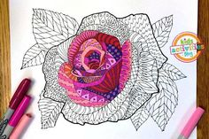 Elegant Rose Zentangle Coloring Page - This free coloring page is ornate and decadent. It would make a great Valentine's Day craft or just a fantastic piece of wall decor.