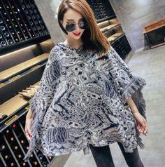 wool fringe hoodie for women loose cloak hooded sweater winter wear