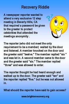Recovery Riddle 3 19 13 Answer Three The Greeter Lets In Those