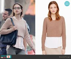 Kara's camel cropped sweater on Supergirl.  Outfit Details: http://wornontv.net/49187/ #Supergirl