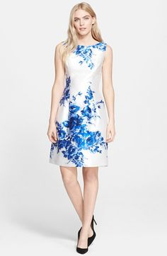Lela Rose Flower Print Full Skirt Satin Sheath Dress available at #Nordstrom