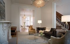 Living room in Francesca Connolly's Brooklyn brownstone designed by Steven Harris and Lucien Rees Roberts.