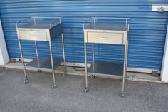 Pair of matching Stainless Steel Medical Cabinets.  Matching pair of authentic stainless steel medical cabinets. Each with a single drawer and lower shelf.  Perfect as bedroom side tables, bathroom storage or even as a cocktail bar!!!  PLUS Get yourself a piece of Hollywood history. These were last used on the set of HOUSE starring Hugh Lawrie. $625