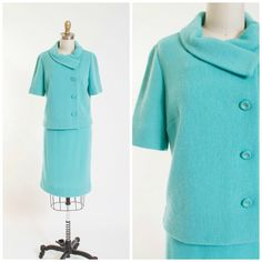 Vintage Early 1960s Knit Sweater and Pencil Skirt Set in Turquoise Wool Mohair 60s Vintage Suit Set by Kimberly Knits Size Small