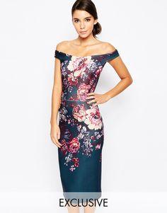 True Violet Ombre Floral Pencil Dress - Multi