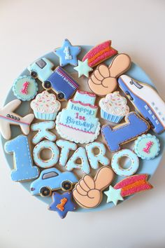 First birthday icing cookies
