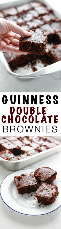 Bring on the desserts with these Guinness Double Chocolate Brownies. Gooey, chocolatey brownies perfect for your sweet tooth. These make the perfect dessert for St Patricks day, or any day! via The Brooklyn Cook - Michelle Boule Easy Desserts, Delicious Desserts, Dessert Recipes, Yummy Food, Bar Recipes, Dessert Bars, Double Chocolate Brownies, Chocolate Desserts, Chocolate Cookies