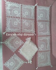 No photo description available. Filet Crochet, Crochet Lace, Knitting Patterns, Crochet Patterns, Linen Napkins, Crochet Slippers, Crochet Designs, Crochet Clothes, Tatting