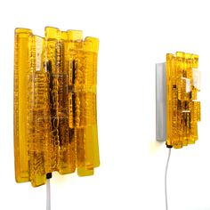 NO. 217 - pair of sconces by Claus Bolby for Lyskaer, 1970s. Danish vintage light design. Charming pair of yellow Plexiglas wall lamps. by DanishVintageDesigns on Etsy