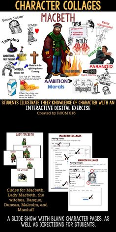 MACBETH: Looking for a way to engage your students? Try this fun, but meaningful, interactive digital activity. Education English, Teaching English, High School Students, Student Work, Teaching Tools, Teaching Resources, Macbeth Essay, Macbeth Quotes, Macbeth Characters