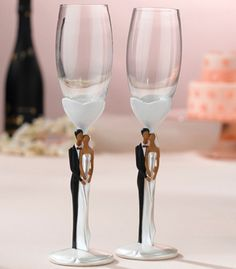 Wedding Couple Toasting Flutes - African American (Lillian Rose G960) | Buy at Wedding Favors Unlimited (http://www.weddingfavorsunlimited.com/wedding_couple_toasting_flutes_-_african_american.html).