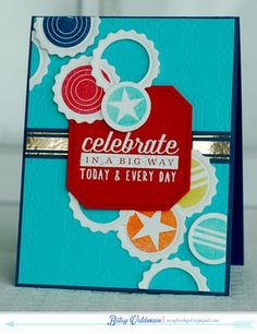 Celebrate In A Big Way Card by Betsy Veldman for Papertrey Ink (March 2014)
