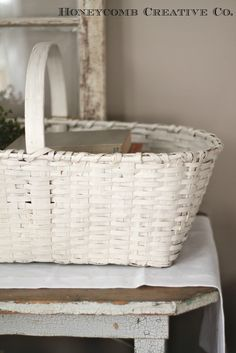 antique painted basket