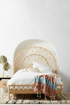 the perfect rattan bed frame Hanging Furniture, Bedroom Furniture, Home Furniture, Furniture Design, Bedroom Decor, Bedroom Ideas, Antique Furniture, Rattan Furniture, Rustic Furniture